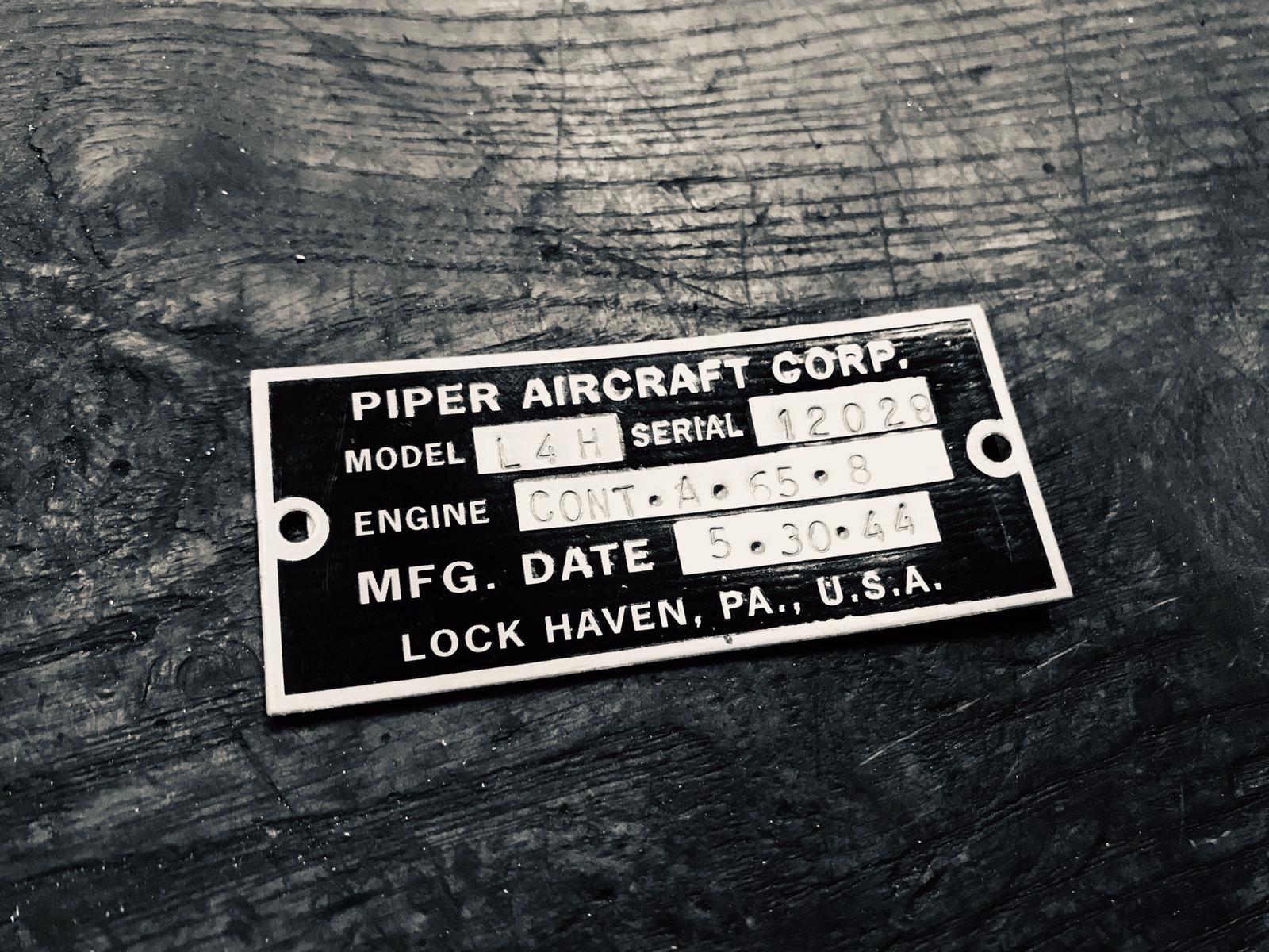 HISTORICAL PIPER CUB L-4H BUILT IN 1944